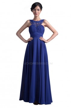 A-Line Long Blue Beaded Chiffon Prom Evening Formal Party Dresses ED010388