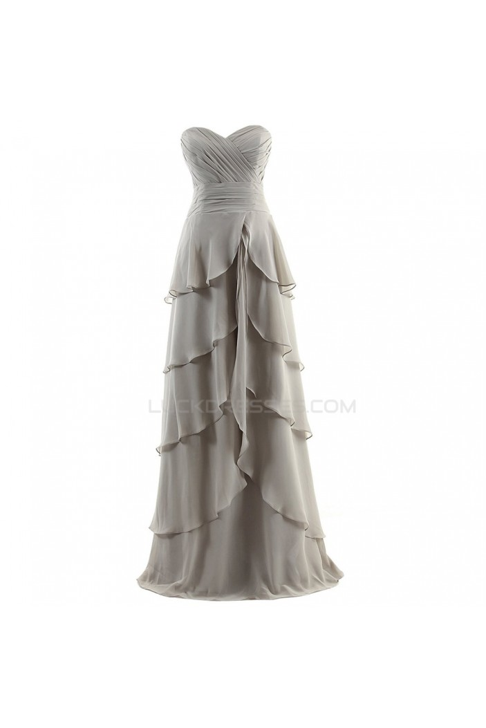 A-Line Sweetheart Long Silver Chiffon Prom Evening Formal Party Dresses ED010390