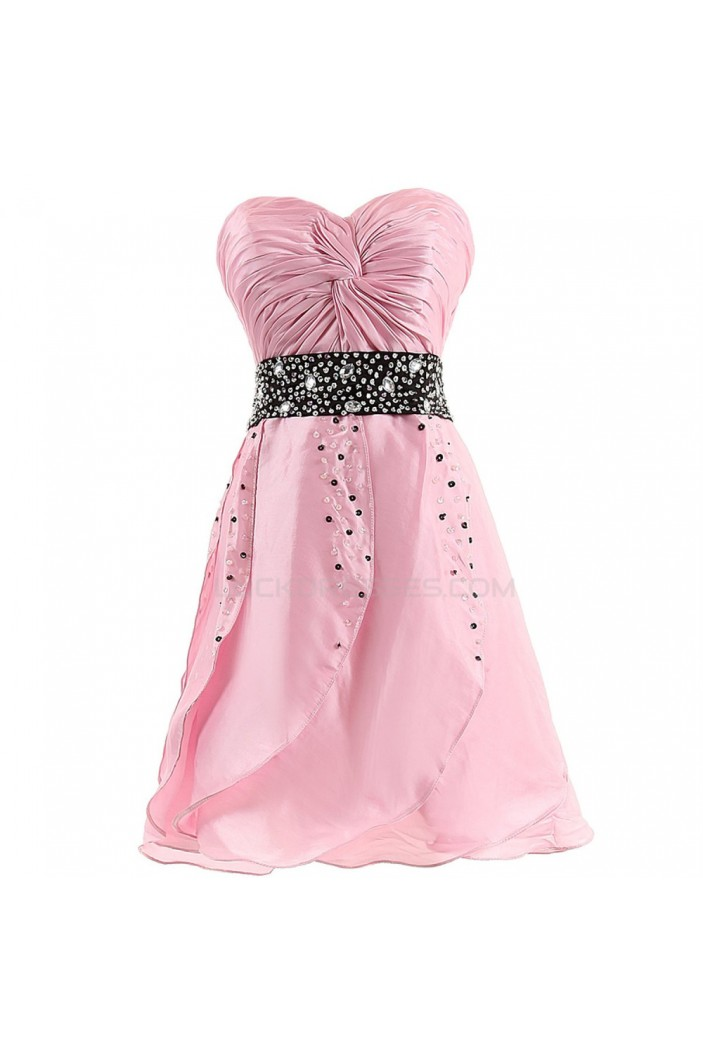 A-Line Sweetheart Beaded Short Pink Prom Evening Formal Party Dresses ED010391