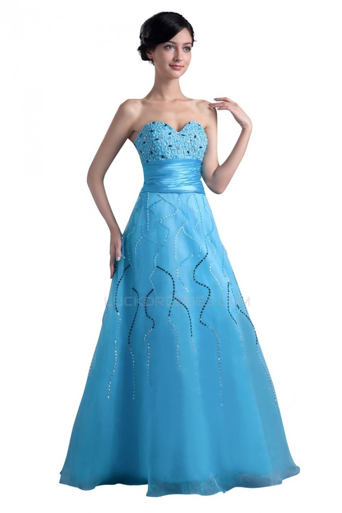A-Line Sweetheart Beaded Long Blue Prom Evening Formal Party Dresses ED010393