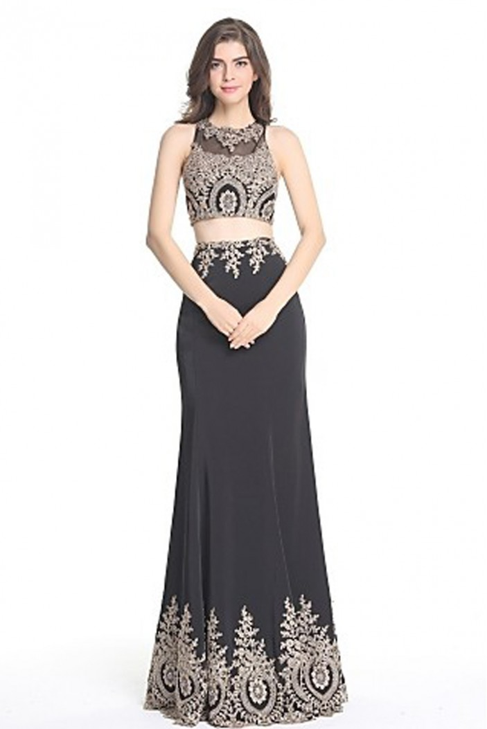 Two Pieces Lace Appliques Long Prom Evening Formal Party Dresses ED010395