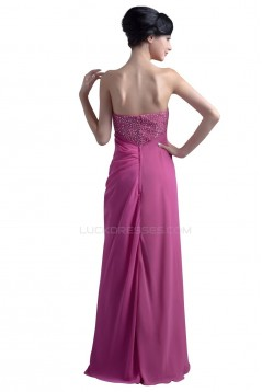 Sheath/Column Strapless Beaded Long Prom Evening Formal Party Dresses ED010396