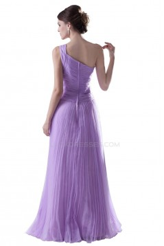 A-Line One-Shoulder Long Purple Pleated Prom Evening Formal Party Dresses ED010398