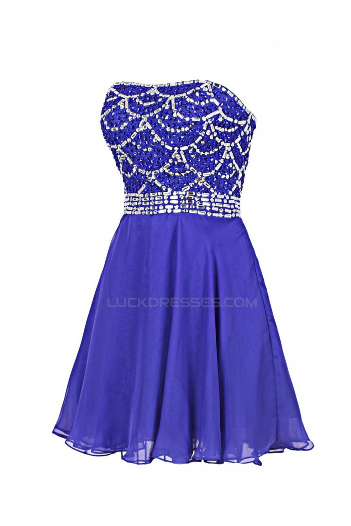 A-Line Strapless Beaded Short Prom Evening Formal Party Dresses ED010399
