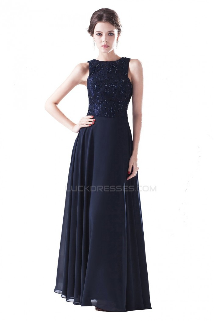 A-Line Long Navy Blue Chiffon and Lace Beaded Prom Evening Formal Party Dresses ED010401