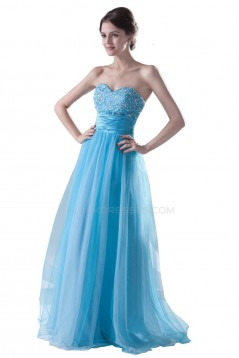 A-Line Long Blue Beaded Prom Evening Formal Party Dresses ED010403