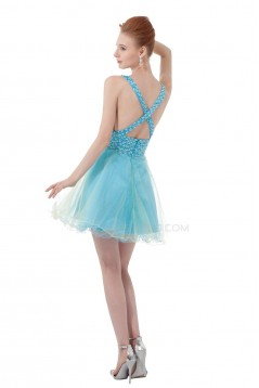 A-Line Short Blue Beaded Prom Evening Formal Party Dresses ED010404