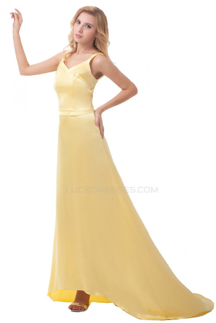A-Line Long Yellow Prom Evening Formal Party Dresses ED010405
