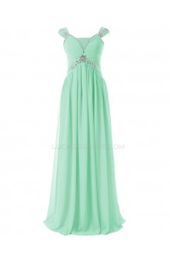 Sheath/Column Beaded Long Mint Green Chiffon Prom Evening Formal Party Dresses ED010408