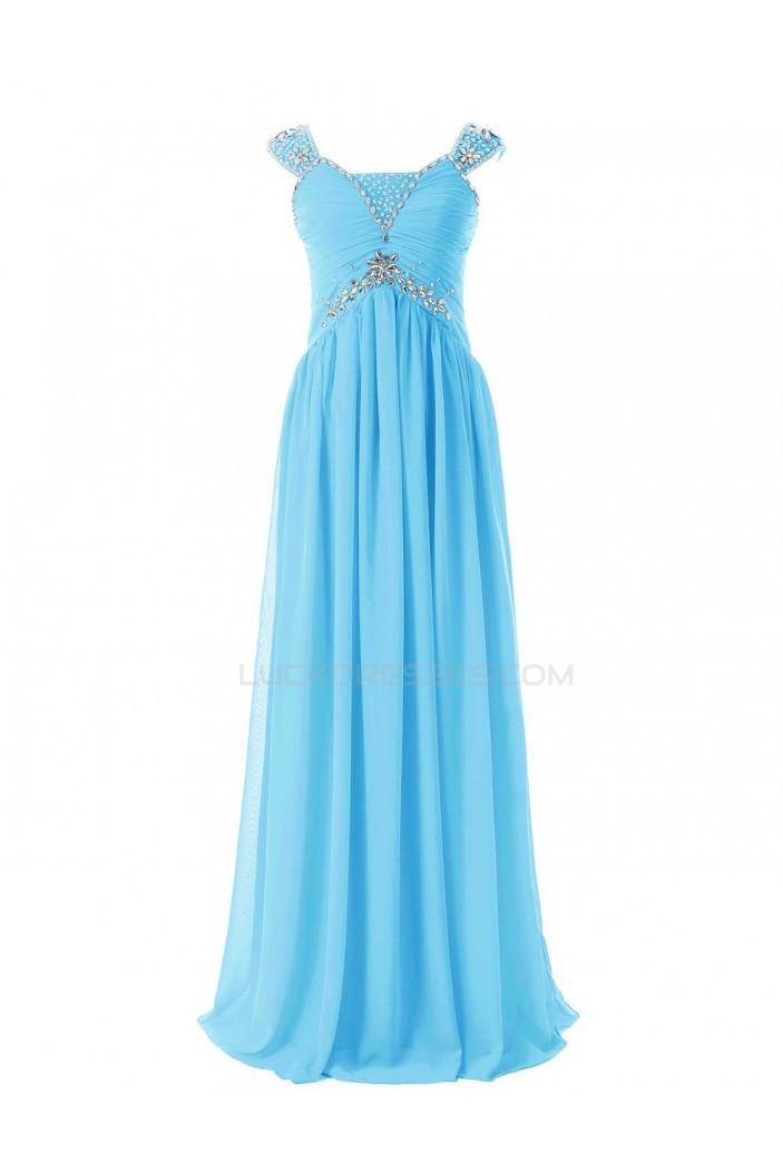 Sheath/Column Beaded Long Blue Chiffon Prom Evening Formal Party Dresses ED010409