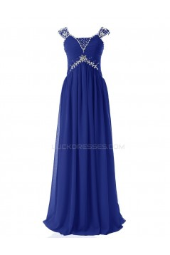 Sheath/Column Beaded Long Blue Chiffon Prom Evening Formal Party Dresses ED010410