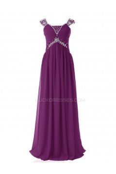 Sheath/Column Beaded Long Purple Chiffon Prom Evening Formal Party Dresses ED010412