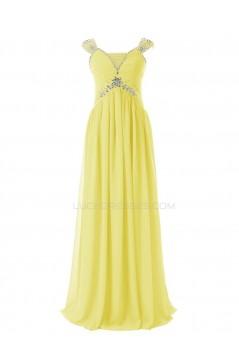 Sheath/Column Beaded Long Yellow Chiffon Prom Evening Formal Party Dresses ED010413