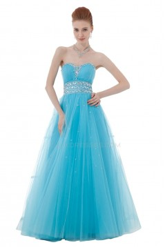 A-Line Sweetheart Beaded Long Blue Tulle Prom Evening Formal Party Dresses ED010415