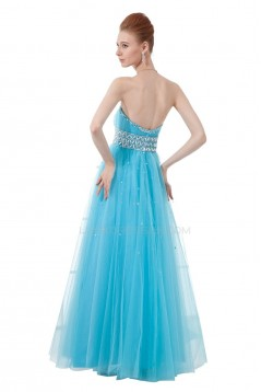 A-Line Sweetheart Beaded Long Blue Tulle Prom Evening Formal Party Dresses ED010416