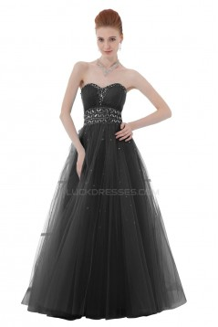 A-Line Sweetheart Beaded Long Black Tulle Prom Evening Formal Party Dresses ED010417