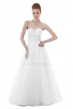 A-Line Sweetheart Beaded Long White Tulle Prom Evening Formal Party Dresses ED010418