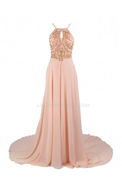 A-Line Beaded Long Pink Chiffon Prom Evening Formal Party Dresses ED010419