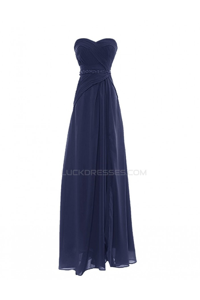 A-Line Sweetheart Navy Blue Long Chiffon Prom Evening Formal Party Dresses ED010420