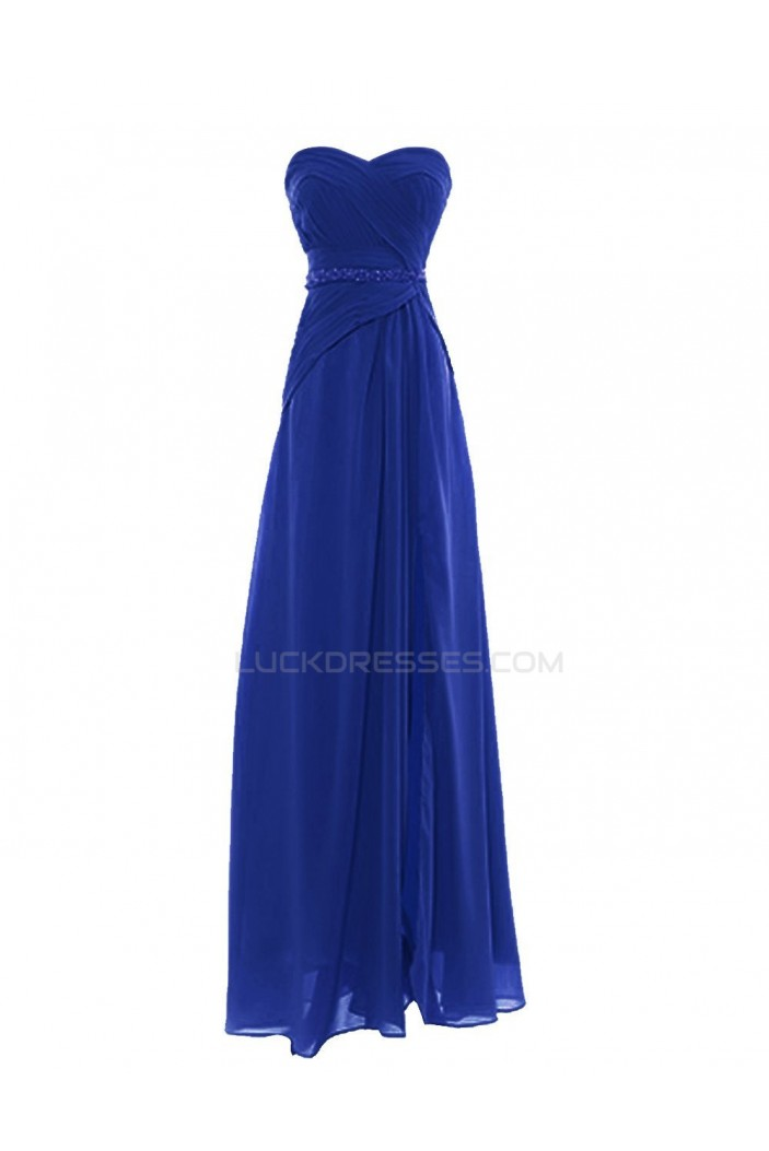 A-Line Sweetheart Blue Long Chiffon Prom Evening Formal Party Dresses ED010421