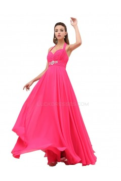 A-Line Halter Long Pink Chiffon Prom Evening Formal Party Dresses ED010425