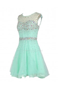 A-Line Short Blue Beaded Prom Evening Formal Party Dresses ED010426