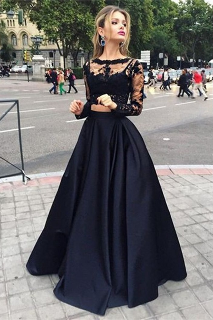 A-Line Two Pieces Long Sleeves Lace Black Prom Evening Formal Party Dresses ED010427