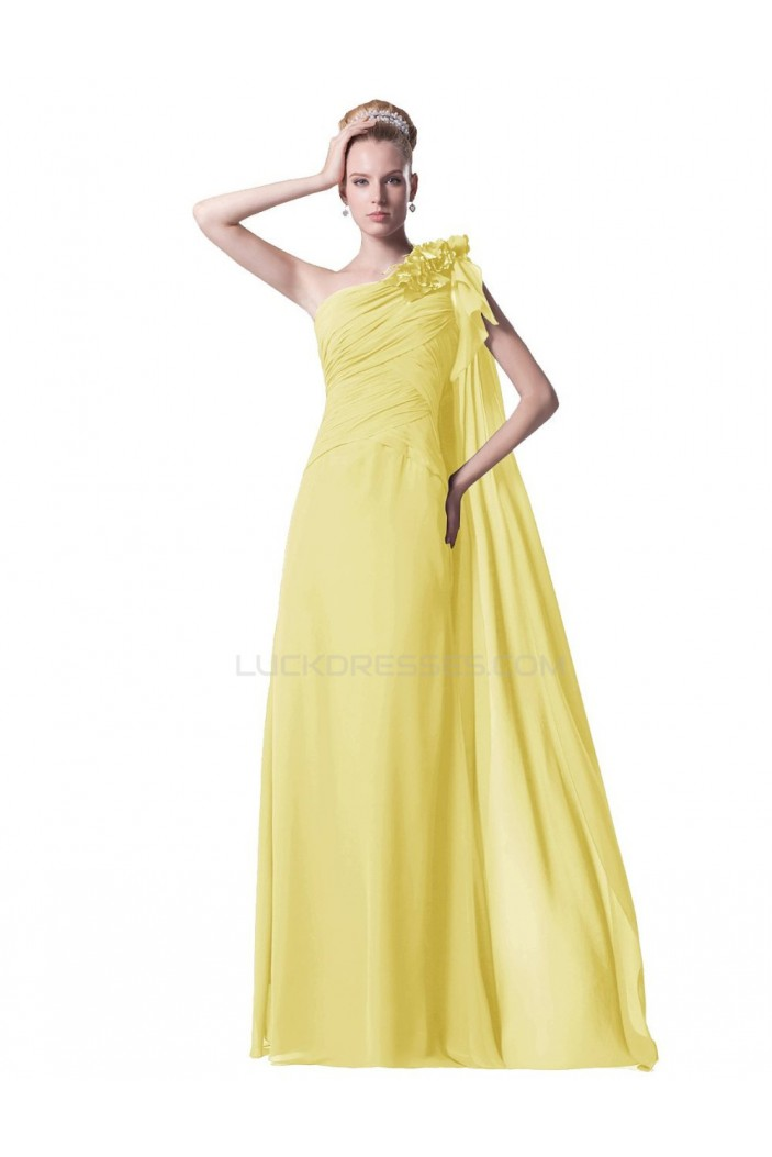 A-Line One-Shoulder Long Yellow Chiffon Prom Evening Formal Party Dresses ED010430
