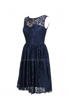 Short Navy Blue Lace Prom Evening Formal Party Dresses ED010432