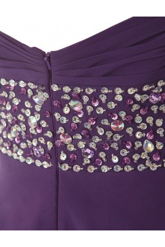 High Low Sweetheart Beaded Purple Chiffon Prom Evening Formal Party Dresses ED010433