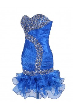 Beaded Sweetheart Short Blue Prom Evening Formal Party Dresses ED010434