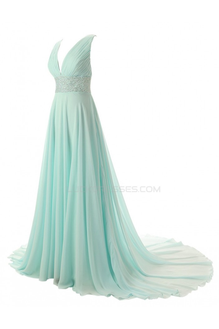 A-Line V-Neck Beaded Long Chiffon Prom Evening Formal Party Dresses ED010435