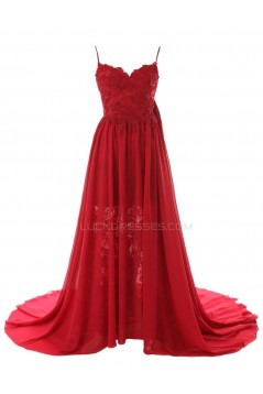 A-Line Spaghetti Strap Long Red Chiffon and Lace Prom Evening Formal Party Dresses ED010436