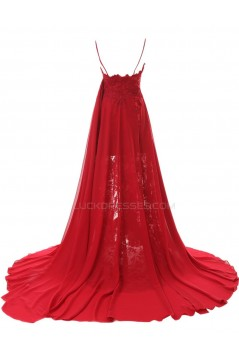 A-Line Spaghetti Strap Long Blue Chiffon and Lace Prom Evening Formal Party Dresses ED010438