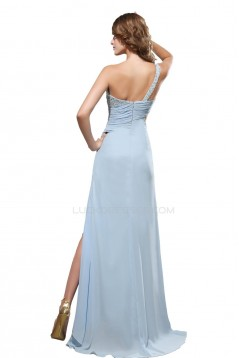 One-Shoulder Beaded Long Chiffon Prom Evening Formal Party Dresses ED010439