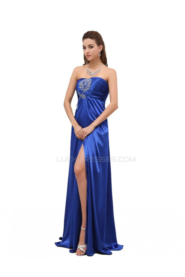 Beaded Strapless Long Blue Prom Evening Formal Party Dresses/Maternity Evening Dresses ED010440