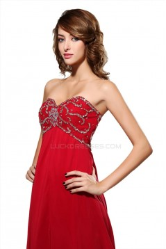 Beaded Sweetheart Long Red Chiffon Prom Evening Formal Party Dresses/Maternity Evening Dresses ED010441