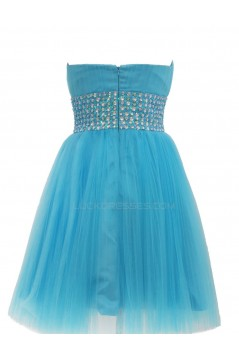 Beaded Short Blue Tulle Prom Evening Formal Party Dresses ED010442