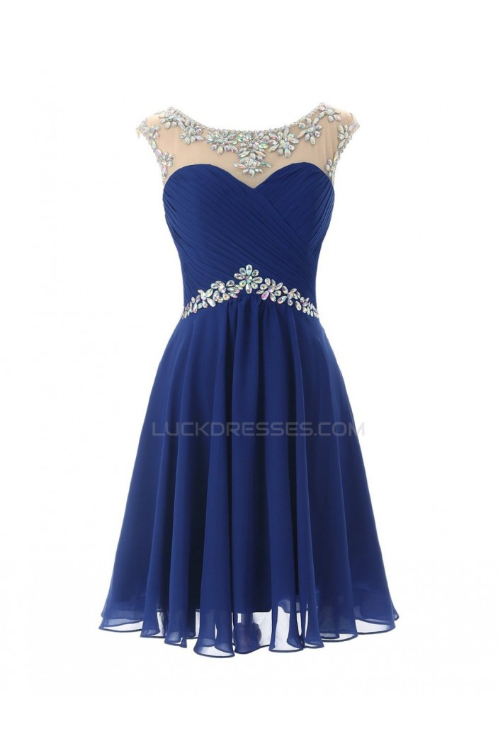 Beaded Short Blue Chiffon Prom Evening Formal Party Dresses ED010443