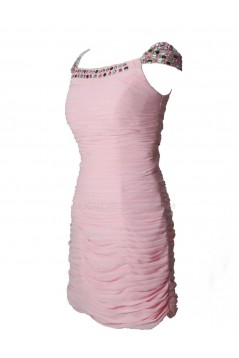 Cap Sleeve Beaded Pleated Short Pink Chiffon Prom Evening Formal Party Dresses ED010448