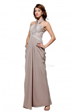 Sheath/Column Halter Beaded Long Chiffon Prom Evening Formal Party Dresses ED010449