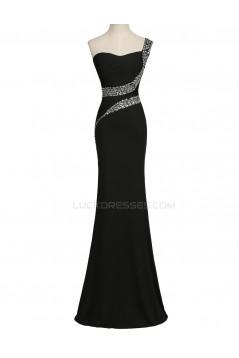 Trumpet/Mermaid One-Shoulder Beaded Long Black Prom Evening Formal Party Dresses ED010452