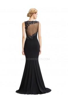 Trumpet/Mermaid Long Black Beaded Applique Prom Evening Formal Party Dresses ED010453