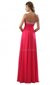 A-Line Spaghetti Strap Beaded Chiffon Prom Evening Formal Party Dresses ED010455