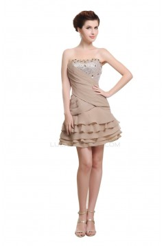 A-Line Strapless Short Beaded Chiffon Prom Evening Formal Party Dresses ED010456