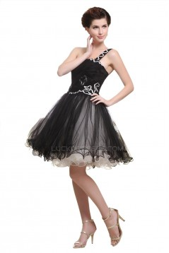 A-Line One-Shoulder Short Black Prom Evening Cocktail Homecoming Party Dresses ED010458