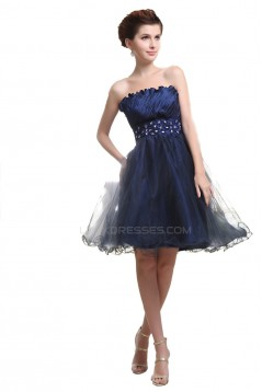 A-Line Strapless Beaded Short Blue Prom Evening Formal Party Dresses ED010459
