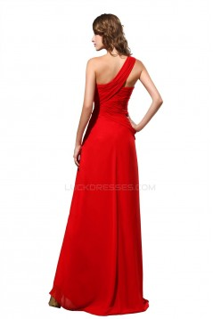 A-Line One-Shoulder Long Red Chiffon Prom Evening Formal Party Dresses ED010460