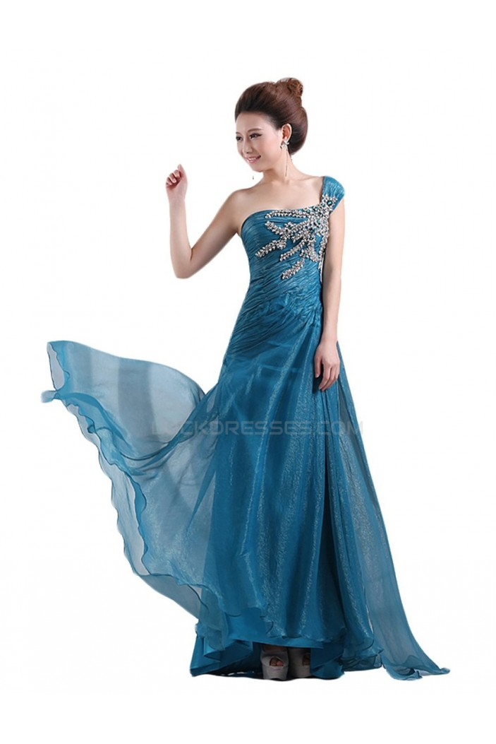 A-Line One-Shoulder Beaded Long Prom Evening Formal Party Dresses ED010461