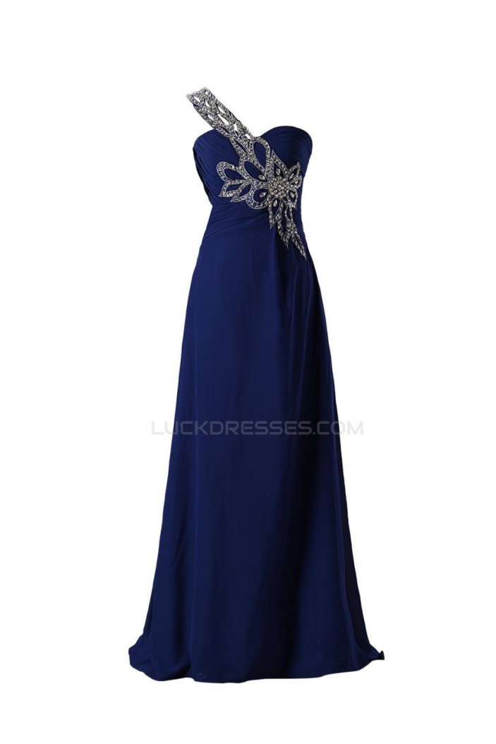 A-Line One-Shoulder Long Blue Beaded Chiffon Prom Evening Formal Party Dresses ED010462